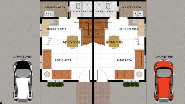 The Grace Duplex Ground Floor Plan of Highview Hills in Apalit, Pampanga.